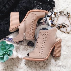 Vince Camuto Light Taupe Woven Ankle Bootie
